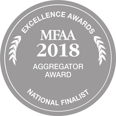 MFAA National Excellence Awards Aggregator of the Year Finalist Badge